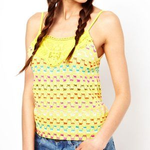 Free People Yellow Heartbeat Rochelle Tank Top